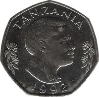 obverse of 20 Shilingi (1990 - 1992) coin with KM# 27 from Tanzania. Inscription: TANZANIA 1990