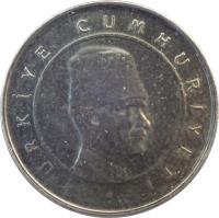 obverse of 10 Yeni Kuruş (2005 - 2008) coin with KM# 1166 from Turkey. Inscription: TÜRKİYE CUMHURİYETİ