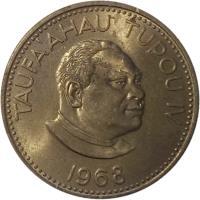 obverse of 10 Seniti - Taufa'ahau Tupou IV (1968 - 1974) coin with KM# 30 from Tonga. Inscription: TAUFA'AHAU TUPOU IV 1974
