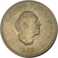 obverse of 10 Seniti - Salote Tupou III (1967) coin with KM# 7 from Tonga. Inscription: SALOTE TUPOU III 1967