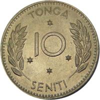 reverse of 10 Seniti - Salote Tupou III (1967) coin with KM# 7 from Tonga. Inscription: TONGA 10 SENITI