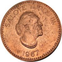 obverse of 2 Seniti - Salote Tupou III (1967) coin with KM# 5 from Tonga. Inscription: SALOTE TUPOU III 1967