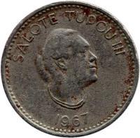 obverse of 5 Seniti - Salote Tupou III (1967) coin with KM# 6 from Tonga. Inscription: SALOTE TUPOU III 1967