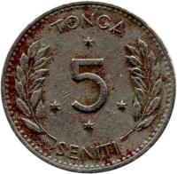 reverse of 5 Seniti - Salote Tupou III (1967) coin with KM# 6 from Tonga. Inscription: TONGA 5 SENITI