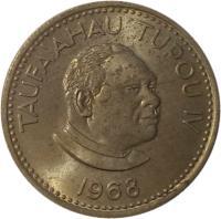 obverse of 5 Seniti - Taufa'ahau Tupou IV (1968 - 1974) coin with KM# 29 from Tonga. Inscription: TUFA'AHAU TUPOU IV 1974