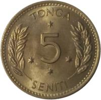 reverse of 5 Seniti - Taufa'ahau Tupou IV (1968 - 1974) coin with KM# 29 from Tonga. Inscription: TONGA 5 SENITI