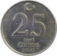 reverse of 25 Yeni Kuruş (2005 - 2008) coin with KM# 1167 from Turkey. Inscription: 25 YENİ KURUŞ 2005