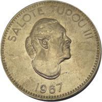 obverse of 20 Seniti - Salote Tupou III (1967) coin with KM# 8 from Tonga. Inscription: SALOTE TUPOU III 1967