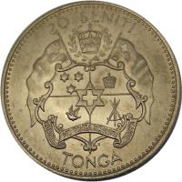 reverse of 20 Seniti - Salote Tupou III (1967) coin with KM# 8 from Tonga. Inscription: 20 SENITI TONDA