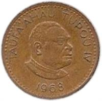 obverse of 1 Seniti - Taufa'ahau Tupou IV (1968) coin with KM# 27 from Tonga. Inscription: TAUFA'AHAU TUPOU IV 1968