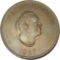 obverse of 50 Seniti - Salote Tupou III (1967) coin with KM# 9 from Tonga. Inscription: SALOTE TUPOU III 1967