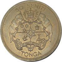 reverse of 50 Seniti - Salote Tupou III (1967) coin with KM# 9 from Tonga. Inscription: 50 SENITI TONGO