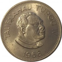 obverse of 20 Seniti - Taufa'ahau Tupou IV (1968 - 1974) coin with KM# 31 from Tonga. Inscription: TAUFA'AHAU TUPOU IV 1968
