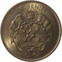 reverse of 20 Seniti - Taufa'ahau Tupou IV (1968 - 1974) coin with KM# 31 from Tonga. Inscription: 20 SENITI TONGA