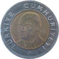 obverse of 1 Yeni Lira (2005 - 2008) coin with KM# 1169 from Turkey. Inscription: TÜRKİYE CUMHURİYETİ