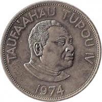 obverse of 2 Pa'anga - Taufa'ahau Tupou IV (1968 - 1974) coin with KM# 37 from Tonga. Inscription: TAUFA`AHAU TUPOU IV 1974