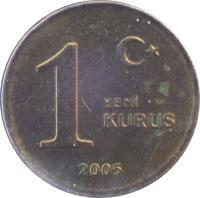 reverse of 1 Yeni Kuruş (2005 - 2008) coin with KM# 1164 from Turkey. Inscription: 1 YENİ KURUŞ 2005