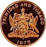 obverse of 1 Cent - Elizabeth II (1974 - 1976) coin with KM# 25 from Trinidad and Tobago. Inscription: TRINIDAD AND TOBAGO 1976