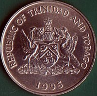 obverse of 1 Dollar - FAO (1995 - 1999) coin with KM# 61 from Trinidad and Tobago. Inscription: REPUBLIC OF TRINIDAD AND TOBAGO TOGETHER WE ASPIRE TOGETHER WE ACHIEVE 1995