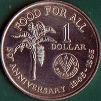 reverse of 1 Dollar - FAO (1995 - 1999) coin with KM# 61 from Trinidad and Tobago. Inscription: FOOD FOR ALL 1 DOLLAR FAO FIAT PANIS 50TH ANNIVERSARY 1945-1995