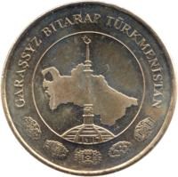 obverse of 50 Teňňe (2009) coin with KM# 100 from Turkmenistan. Inscription: GARAŞSYZ BITARAP TÜRKMENISTAN