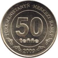 reverse of 50 Teňňe (2009) coin with KM# 100 from Turkmenistan. Inscription: TÜRKMENISTANYŇ MERKEZI BANKY 50 teňňe 2009