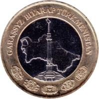 obverse of 1 Manat (2010) coin with KM# 103 from Turkmenistan. Inscription: GARAŞSYZ BITARAP TÜRKMENISTAN