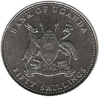 obverse of 50 Shillings (1998 - 2012) coin with KM# 66 from Uganda. Inscription: BANK OF UGANDA FOR GOD AND MY COUNTRY FIFTY SHILLINGS