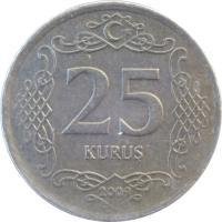 reverse of 25 Kuruş (2009 - 2015) coin with KM# 1242 from Turkey. Inscription: 25 KURUŞ 2009