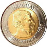 obverse of 10 Pesos Uruguayos (2000) coin with KM# 121 from Uruguay. Inscription: URUGUAY 1764 1850 JOSE ARTIGAS
