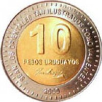 reverse of 10 Pesos Uruguayos (2000) coin with KM# 121 from Uruguay. Inscription: