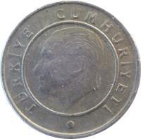 obverse of 10 Kuruş (2009 - 2017) coin with KM# 1241 from Turkey. Inscription: TÜRKİYE CUMHURİYETİ