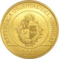 obverse of 1 Peso Uruguayo - Native fauna of Uruguay: Armadillo (2011 - 2012) coin with KM# 135 from Uruguay. Inscription: REPUBLICA ORIENTAL DEL URUGUAY 2011