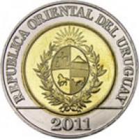 obverse of 10 Pesos Uruguayos - Native fauna of Uruguay: Cougar (2011 - 2014) coin with KM# 134 from Uruguay. Inscription: REPUBLICA ORIENTAL DEL URUGUAY 2011