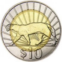 reverse of 10 Pesos Uruguayos - Native fauna of Uruguay: Cougar (2011 - 2014) coin with KM# 134 from Uruguay. Inscription: $10