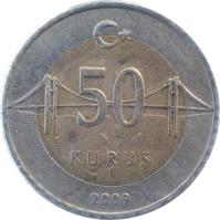 reverse of 50 Kuruş (2009 - 2018) coin with KM# 1243 from Turkey. Inscription: 50 KURUŞ 2009