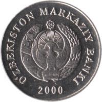 obverse of 1 So'm (2000) coin with KM# 12 from Uzbekistan. Inscription: OʻZBEKISTON MARKAZIY BANKI 2000