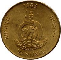 obverse of 2 Vatu (1983 - 2002) coin with KM# 4 from Vanuatu. Inscription: RIPABLIK BLONG VANUATU 1999 LONG GOD YUMI STANAP