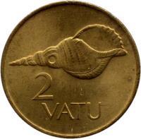 reverse of 2 Vatu (1983 - 2002) coin with KM# 4 from Vanuatu. Inscription: 2 VATU