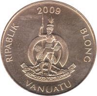 obverse of 5 Vatu (1983 - 2009) coin with KM# 5 from Vanuatu. Inscription: RIPABLIK BLONG VANUATU 1999 LONG GOD YUMI STANAP