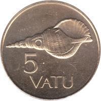 reverse of 5 Vatu (1983 - 2009) coin with KM# 5 from Vanuatu. Inscription: 5 VATU