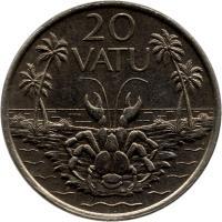 reverse of 20 Vatu - FAO (1983 - 2010) coin with KM# 7 from Vanuatu. Inscription: 20 VATU