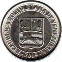 obverse of 10 Céntimos (2007 - 2012) coin with Y# 89 from Venezuela. Inscription: REPÚBLICA BOLIVARIANA DE VENEZUELA 2009