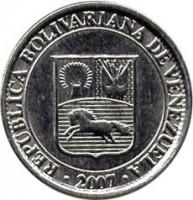 obverse of 25 Céntimos (2007 - 2009) coin with Y# 91 from Venezuela. Inscription: REPÚBLICA BOLIVARIANA DE VENEZUELA 2007