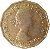 obverse of 3 Pence - Elizabeth II - Without BRITT:OMN; 1'st Portrait (1954 - 1970) coin with KM# 900 from United Kingdom. Inscription: + ELIZABETH · II · DEI · GRATIA · REGINA · F:D: