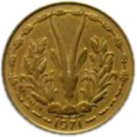 obverse of 10 Francs (1964 - 1981) coin with KM# 1a from Western Africa (BCEAO). Inscription: 1971