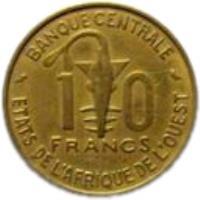 reverse of 10 Francs (1964 - 1981) coin with KM# 1a from Western Africa (BCEAO). Inscription: 10 FRANCS BANQUE CENTRALE ETATS DE L'AFRIQUE DE L'OUEST