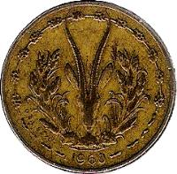obverse of 5 Francs (1960) coin with KM# 2 from Western Africa (BCEAO). Inscription: 1960