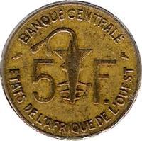 reverse of 5 Francs (1960) coin with KM# 2 from Western Africa (BCEAO). Inscription: 5 F. BANQUE CENTRALE ETATS DE L'AFRIQUE DE L'OUEST