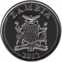 obverse of 5 Ngwee (2012 - 2014) coin with KM# 205 from Zambia. Inscription: ZAMBIA 2012